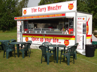 This image shows the Jervis Mobile Bars - Curry unit offering curry and rice and other services for your event.